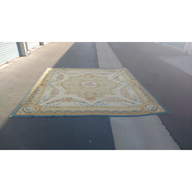 Antique French Aubusson Rug - 9′3″ × 10′3″ - Image 3 of 7