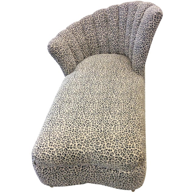 Leopard print chaise lounge chairish for Animal print chaise