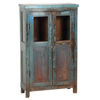 Distressed Aqua Cabinet
