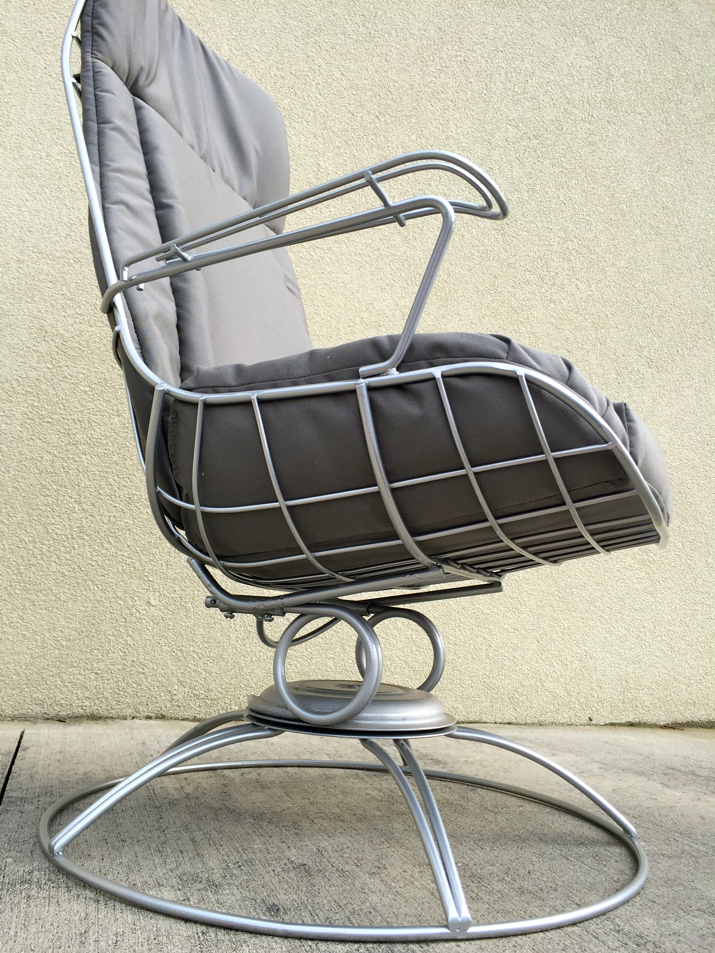 Restored Mid Century Wrought Iron Lounge Chair