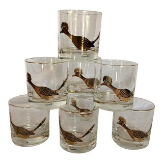 "Couroc ""Road Runner"" Gold & Black Lo-ball Glasses - Set of 8"