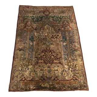 Old Persian Pictorial Qom Rug - 6'5 × 9'2
