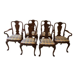 Walnut Queen Anne Dining Chairs - Set of 6