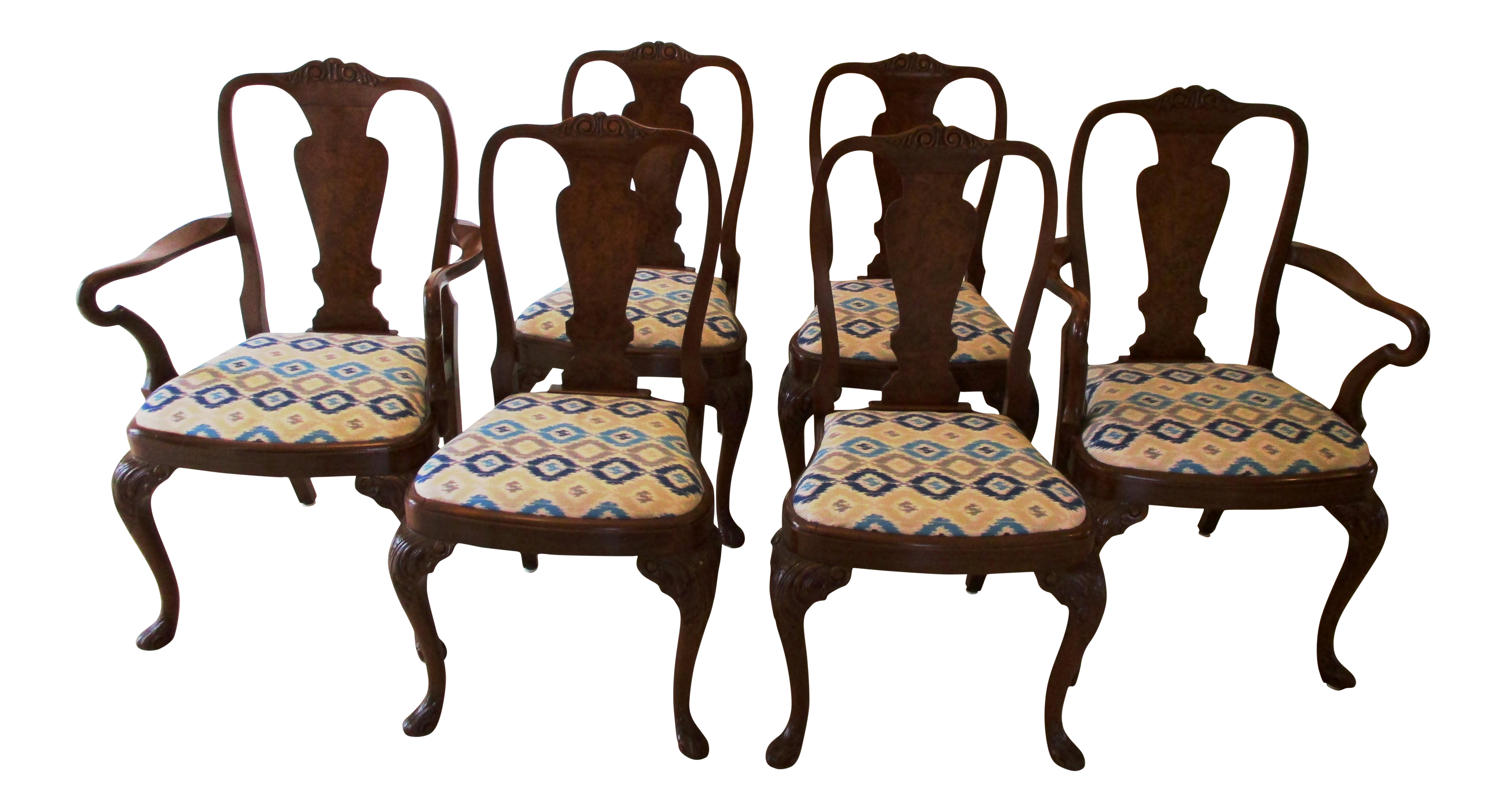 walnut queen anne dining chairs set of 6