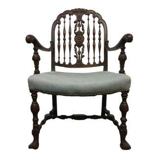 Vintage Carved Walnut Upholstered Open Armchair