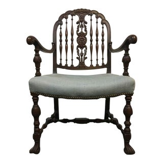 Vintage Carved Walnut Upholstered Open Armchair