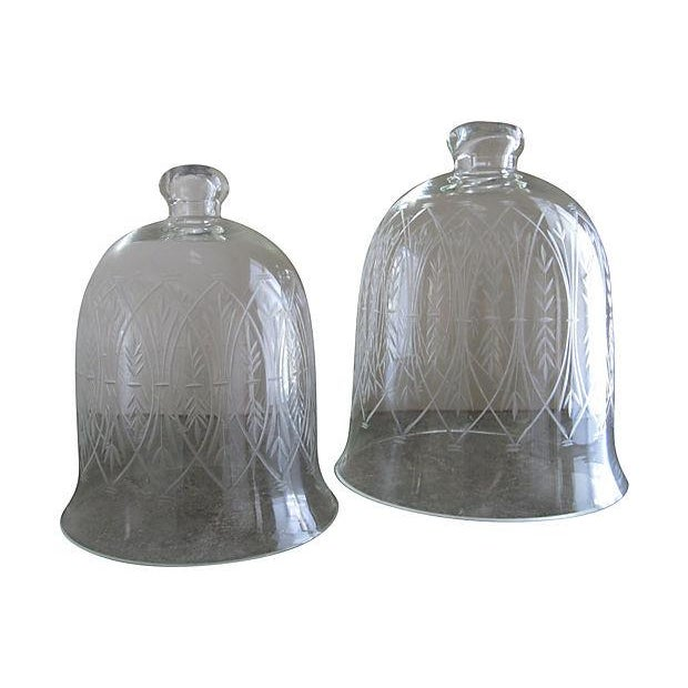Vintage Etched Glass Nesting Domes - S/2 - Image 1 of 8