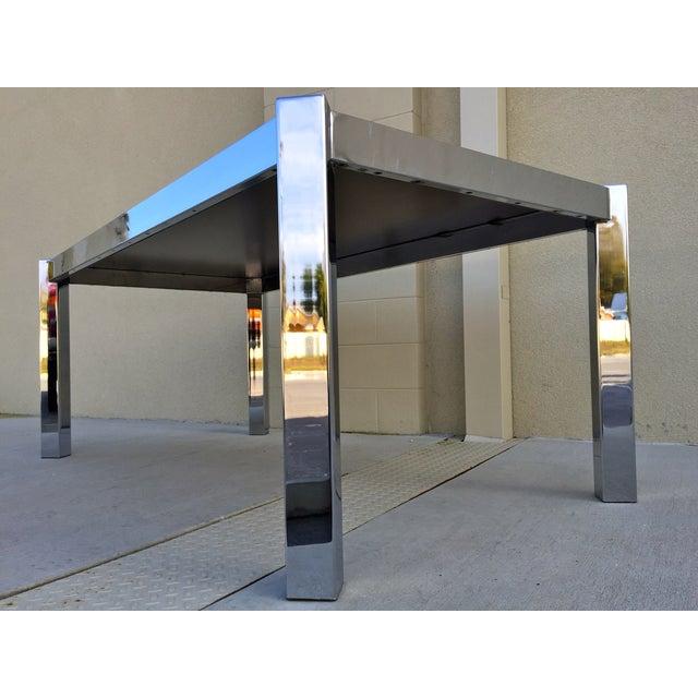 Milo Baughman DIA Wood & Chrome Dining Table - Image 7 of 8