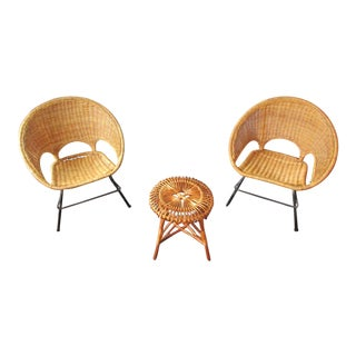 Franco Albini Style Wicker & Metal Chairs with Lobster Pot Stool - Set of 3