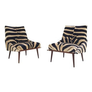 Adrian Pearsall Style Lounge Chairs Restored in Zebra Hide - a Pair