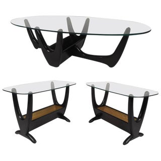 Set of Mid-Century Modern Glass Top Tables by Tonk Manufacturing Company