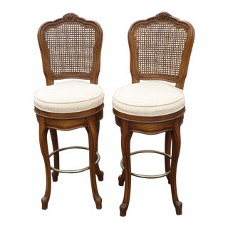 French Country Carved Wood Cane Back Bar Stools - A Pair