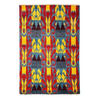 """Ikat, Hand Knotted Area Rug - 4' 0"""" X 5' 10"""""""