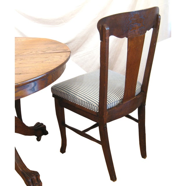 Round Claw Foot Oak Dining Set - Image 6 of 6