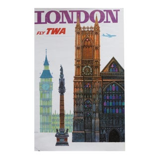 1960s David Klein Original Vintage TWA London Poster
