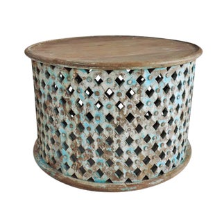 Round Blue Wash Carved Wood Drum Table