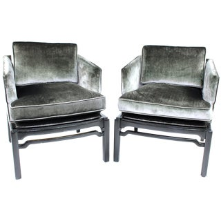 Hollywood Regency James Mont Style Chairs - Pair