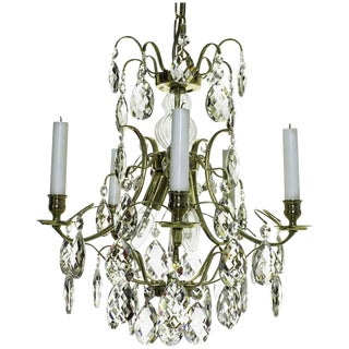 Baroque 5-Arm Brass Almond Crystal Chandelier