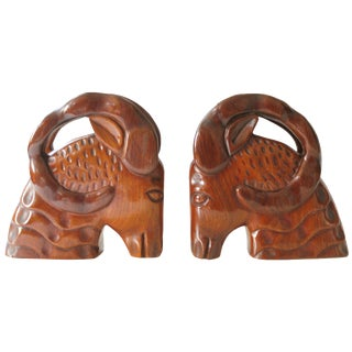 Vintage Wooden Ram Head Bookends - A Pair