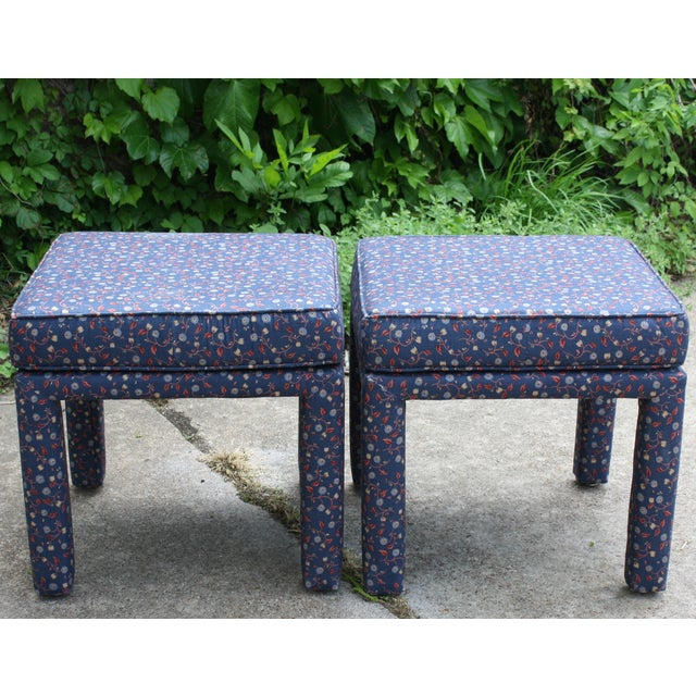 Image of Vintage Blue Floral Parsons Stools - Pair