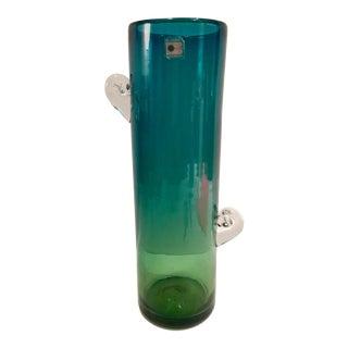 Vintage Blenko Glass Ombre Abstract Handle Vase