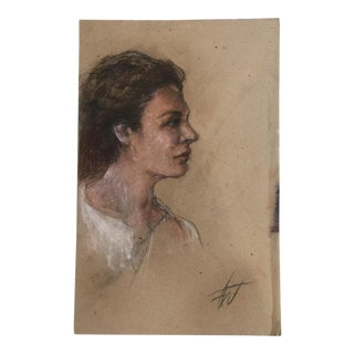 'Female #1' French Pastel Portrait Drawing