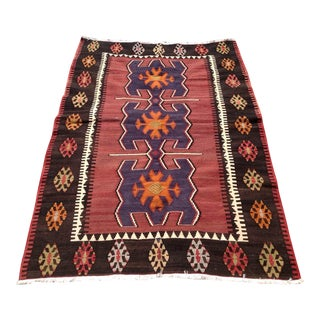 "Vintage Turkish Kilim Rug - 4'7"" X 6'6"""