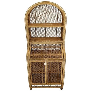 Vintage Woven Wicker Secretary Desk & Bookcase