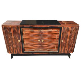 French Art Deco Exotic Macassar Ebony Sideboard / Buffet /Bar Circa 1940s.