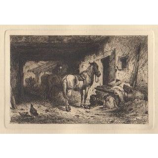 "Peter Moran (1842-1914) ""Noonday Rest"" Original Etching C.1877"