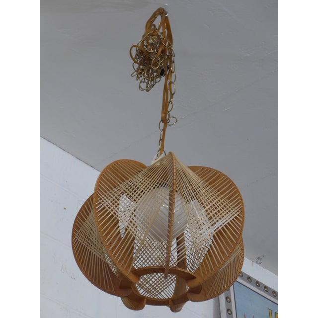 Danish Modern Wood Woven Geometric Swag Lamp - Image 2 of 7