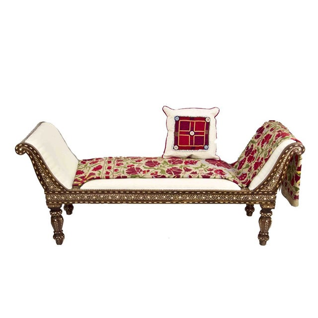 Anglo Indian Bone Inlay Chaise Lounge - Image 4 of 4