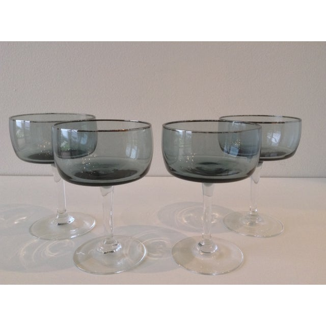 Silver Rimmed Smoke Blue Champagne Coupes - S/4 - Image 3 of 7