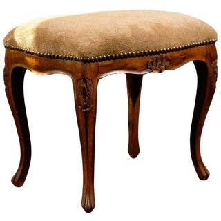 Italian Walnut Louis XV Style Carved Stool with Suede Upholstery