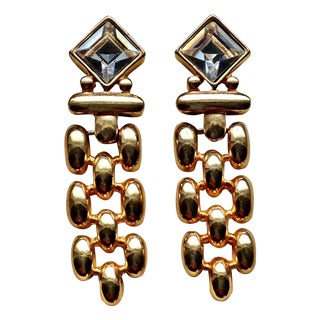 Modernist Swarovski Pierced Earrings