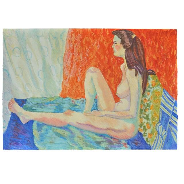 """Esther Akrish """"Pensive"""" Original Watercolor - Image 1 of 4"""
