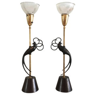 Rembrandt Art Deco Peacock Table Lamps - a Pair
