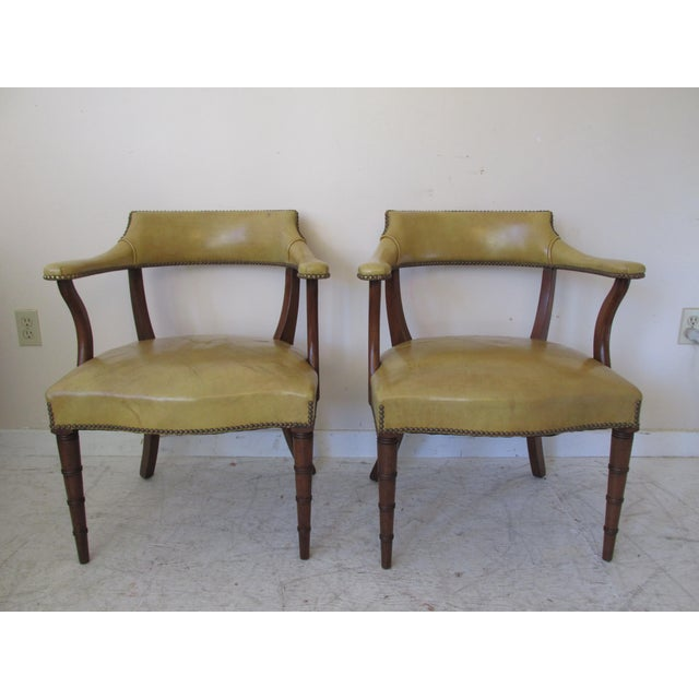 Vintage Butterscotch Leather Armchairs - A Pair - Image 2 of 11