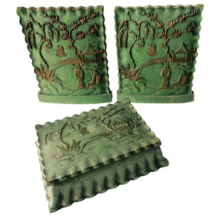 Vintage Syroco Green Asian Bookends - Set of 3