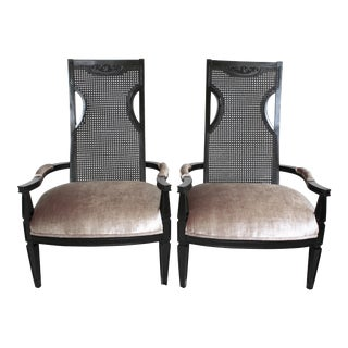 Silvery Pewter Velvet Chairs- A Pair