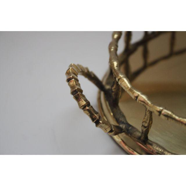 Oval Brass Faux Bamboo Tray - Image 5 of 5
