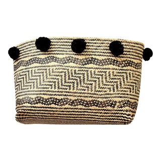 Borneo Tribal Straw Basket With Black Pom-Poms