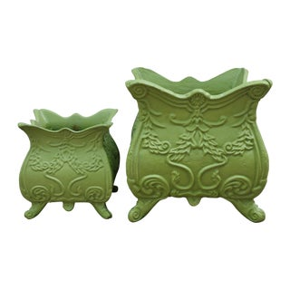 Vintage Green Cast Iron Planters - A Pair