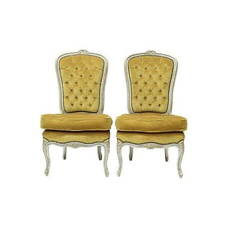 Louis XV Style Slipper Chairs - Pair