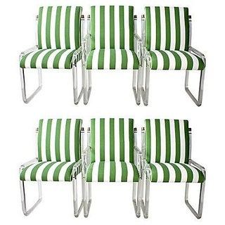 Green Stripe Lucite & Brass Upholstered Dining Chairs - Set of 6