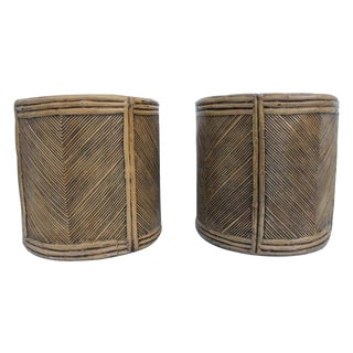 Midcentury Fiberglass Faux Bamboo Side Tables-Pair