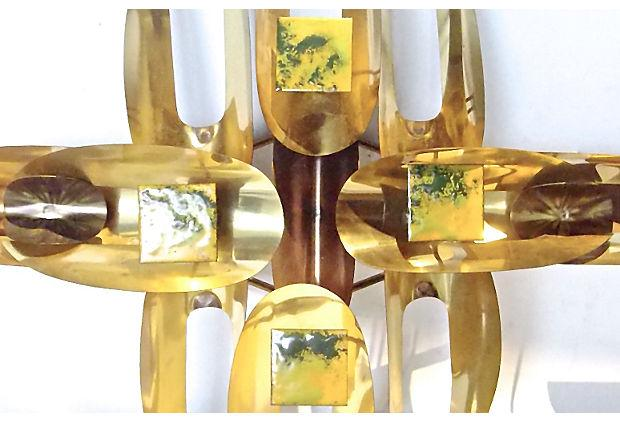 william vose midcentury gold metal wall sculpture image 5 of 7