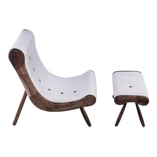 Danish Lounge Chair & Ottoman / Brand New