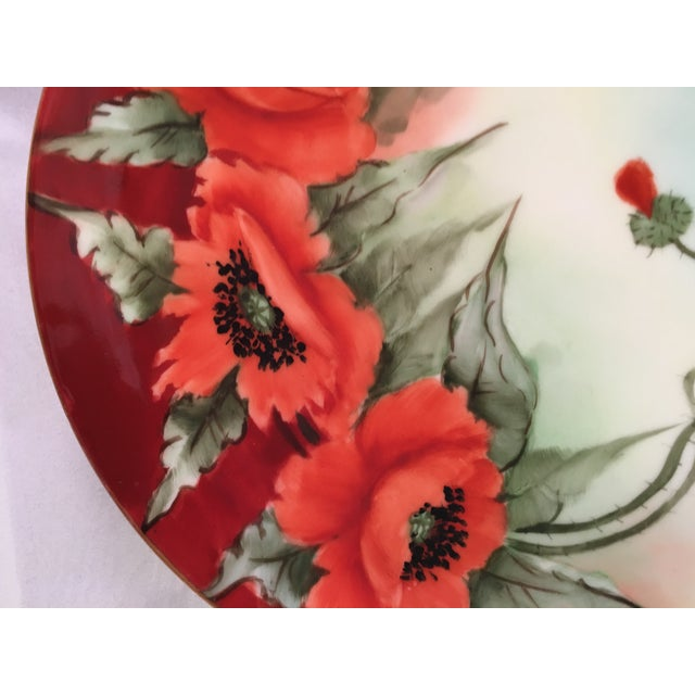 Limoges France Decorative Poppy Plate - Image 5 of 8