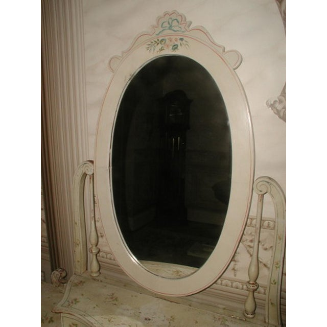 Image of Flowered French Vanity With Mirror & Glove Box